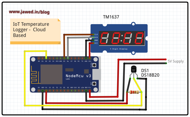 Connection Diagram for the Temperature Logger using NodeMCU and DS18B20